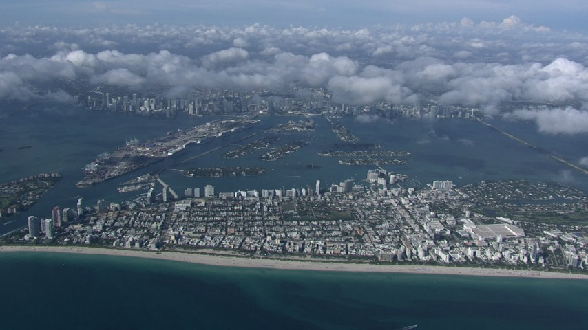HD stock footage aerial video of a high altitude view of South Beach, Miami, Florida Aerial Stock Footage   CAP_020_012