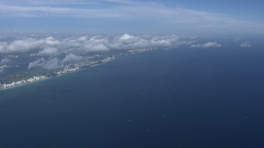 HD stock footage aerial video of a wide view of Miami Beach and the Atlantic Ocean, Florida Aerial Stock Footage | CAP_020_014