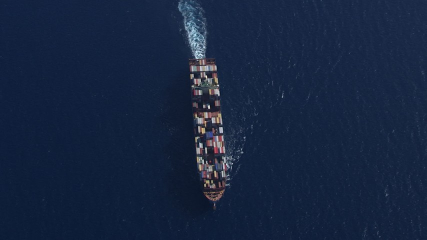 HD stock footage aerial video of an overhead view of a cargo ship near Miami Beach, Florida Aerial Stock Footage | CAP_020_016