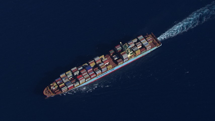 HD stock footage aerial video of looking down to a cargo ship near Miami Beach, Florida Aerial Stock Footage | CAP_020_017