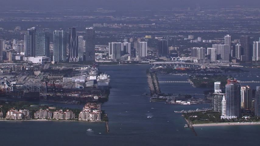 HD stock footage aerial video of a view of downtown skyline from Government Cut, Miami, Florida Aerial Stock Footage | CAP_020_024