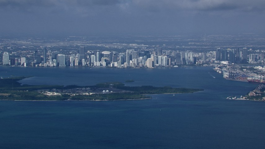 HD stock footage aerial video of a view of the Downtown Miami skyline across Biscayne Bay, Florida Aerial Stock Footage   CAP_020_028