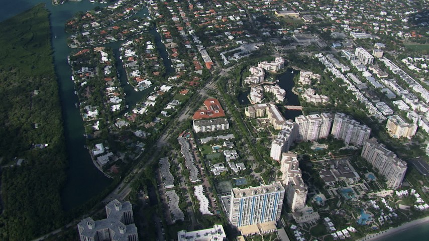 HD stock footage aerial video of a bird's eye view condo complexes on Key Biscayne, Miami, Florida Aerial Stock Footage | CAP_020_033