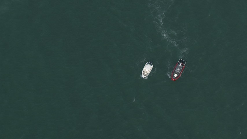 HD stock footage aerial video of a bird's eye view of boats near Miami, Florida Aerial Stock Footage | CAP_020_034