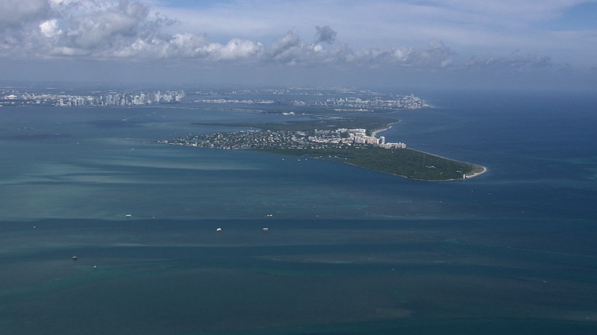 HD stock footage aerial video of flying by Key Biscayne, Miami, Florida Aerial Stock Footage | CAP_020_037