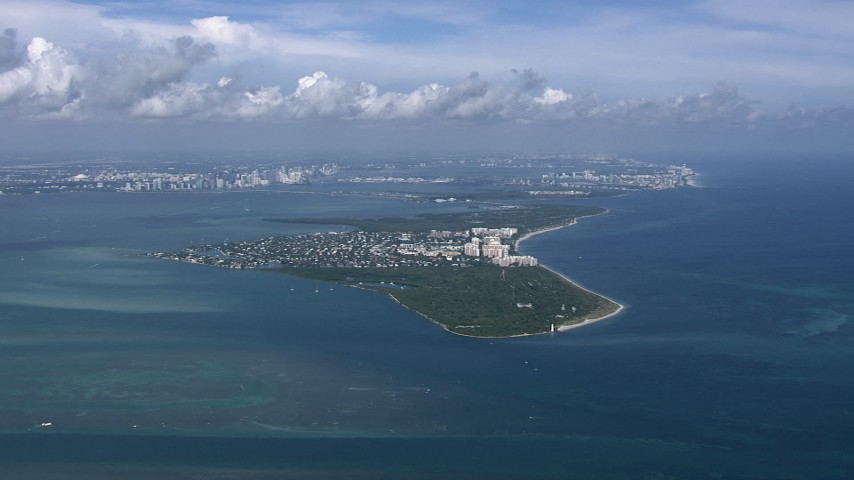 HD stock footage aerial video of a wide view of Key Biscayne, Miami, Florida Aerial Stock Footage | CAP_020_039