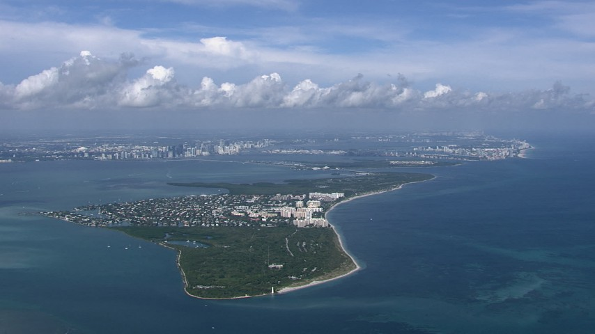 HD stock footage aerial video of flying past Key Biscayne, Miami, Florida Aerial Stock Footage | CAP_020_040