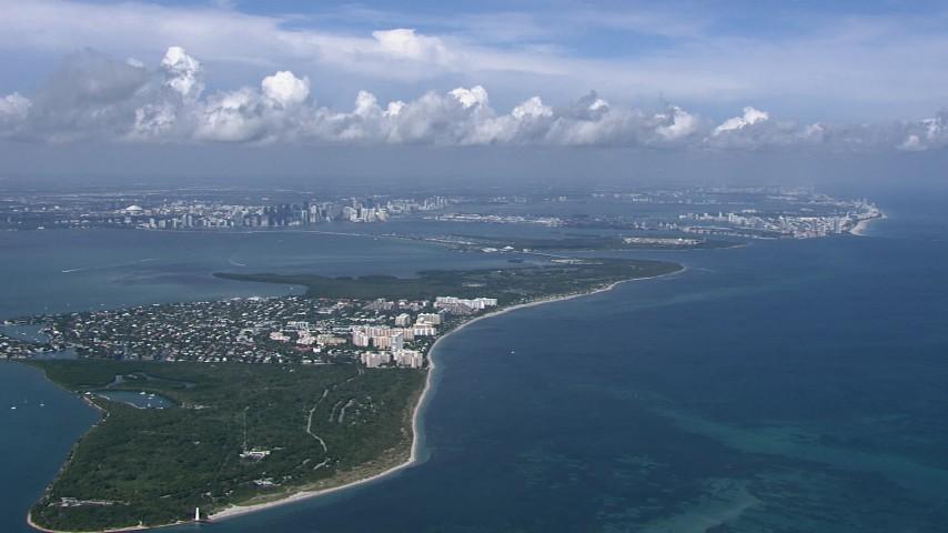 HD stock footage aerial video of passing Key Biscayne, Miami, Florida Aerial Stock Footage | CAP_020_041