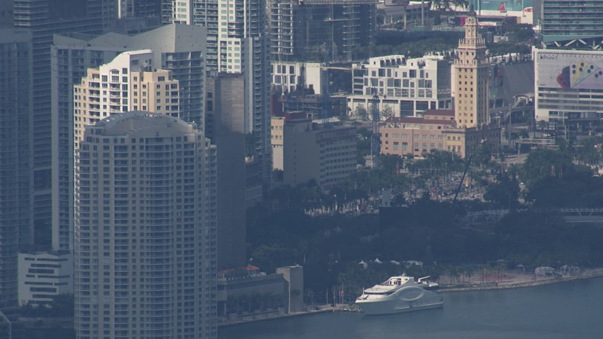 HD stock footage aerial video of the city's skyscrapers, Miami, Florida Aerial Stock Footage | CAP_020_046