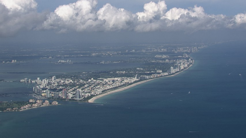 HD stock footage aerial video of a wide view of South Beach and Miami Beach, Florida Aerial Stock Footage | CAP_020_047