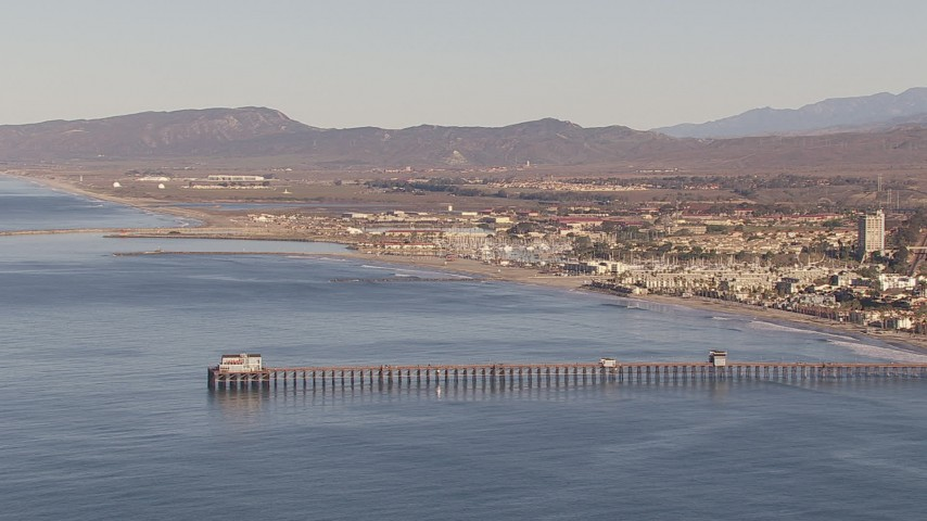 HD stock footage aerial video of approaching Oceanside Pier in Oceanside, California Aerial Stock Footage   CAP_021_022