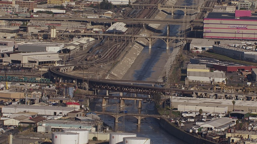 HD stock footage aerial video of bridges spanning the Los Angeles River, Boyle Heights, California Aerial Stock Footage | CAP_021_087