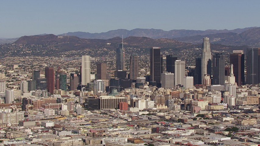 HD stock footage aerial video of panning across the city's skyline, Downtown Los Angeles, California Aerial Stock Footage | CAP_021_091