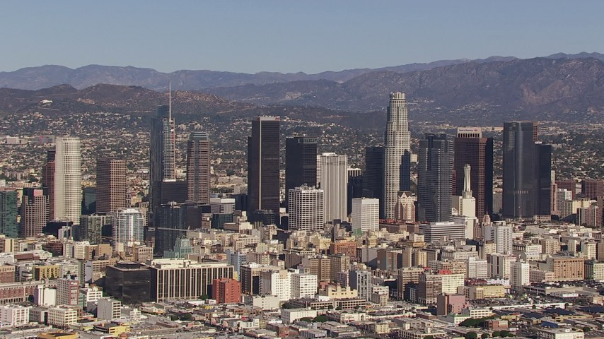 HD stock footage aerial video of flying by skyscrapers in the city's skyline, Downtown Los Angeles, California Aerial Stock Footage | CAP_021_092