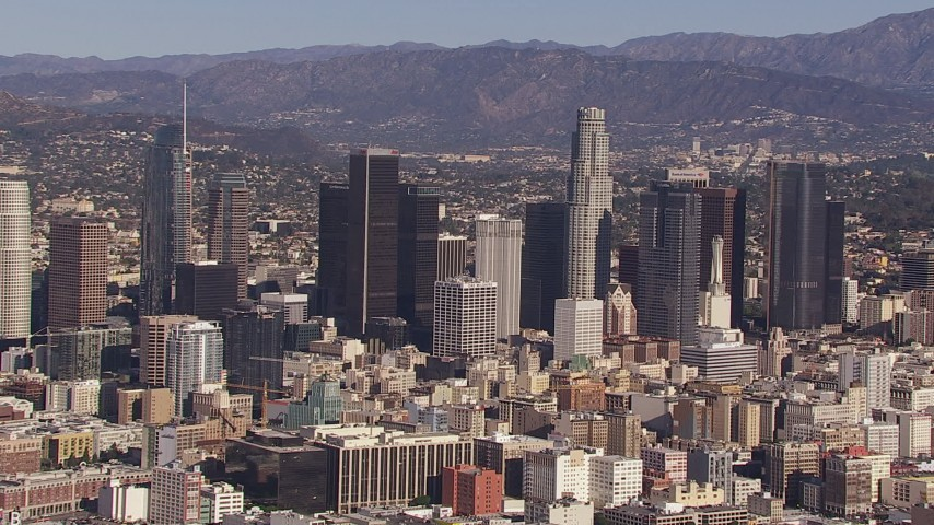 HD stock footage aerial video of passing by skyscrapers in the city's skyline, Downtown Los Angeles, California Aerial Stock Footage   CAP_021_093