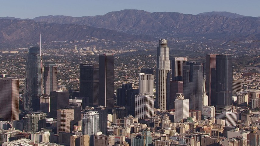 HD stock footage aerial video flyby skyscrapers in the city's skyline, Downtown Los Angeles, California Aerial Stock Footage | CAP_021_094
