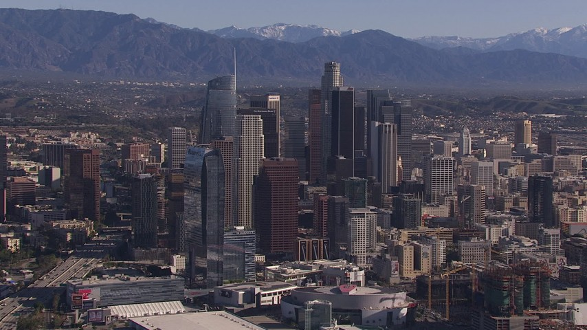 HD stock footage aerial video of tall skyscrapers in the city's skyline, Downtown Los Angeles, California Aerial Stock Footage | CAP_021_097