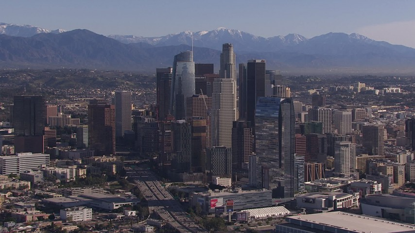 HD stock footage aerial video of towering skyscrapers in the city's skyline, Downtown Los Angeles, California Aerial Stock Footage   CAP_021_098