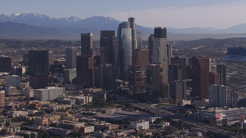 HD stock footage aerial video of flying by towering skyscrapers in the city's skyline, Downtown Los Angeles, California Aerial Stock Footage | CAP_021_099
