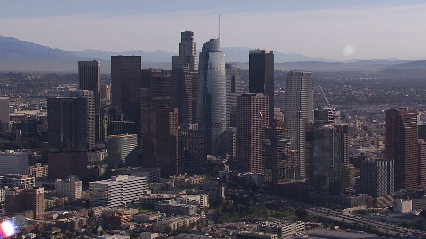 HD stock footage aerial video flyby towering skyscrapers in the city's skyline, Downtown Los Angeles, California Aerial Stock Footage | CAP_021_100