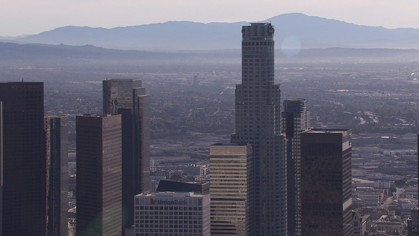 HD stock footage aerial video flyby US Bank Tower skyscraper, Downtown Los Angeles, California Aerial Stock Footage | CAP_021_103