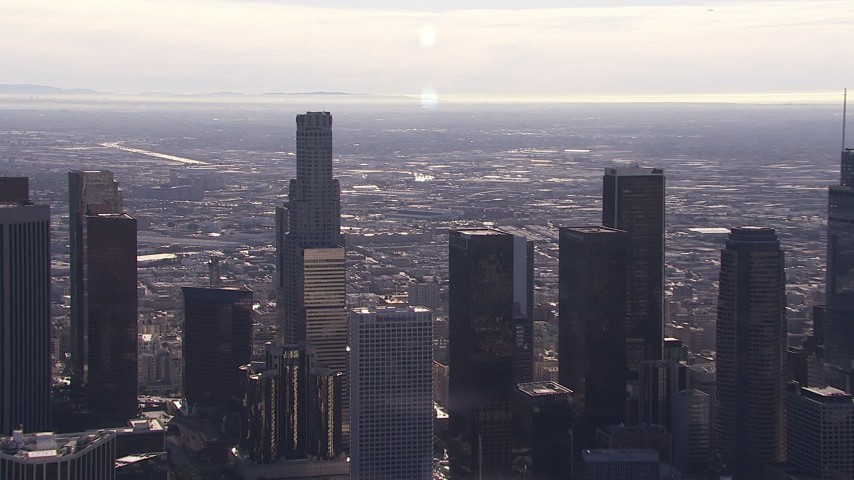 HD stock footage aerial video zoom from view of US Bank Tower skyscraper to view of skyline, Downtown Los Angeles, California Aerial Stock Footage   CAP_021_104