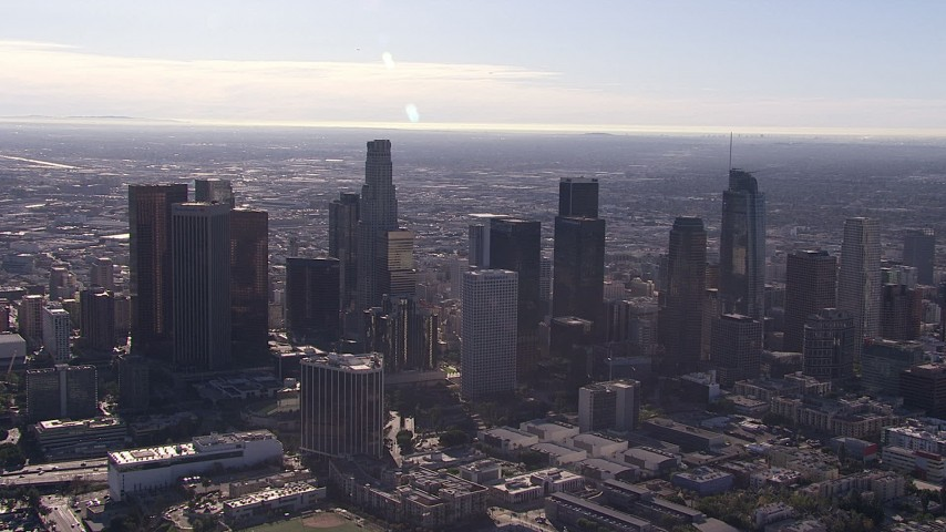 HD stock footage aerial video a wide view of the city's downtown skyline, Downtown Los Angeles, California Aerial Stock Footage | CAP_021_105