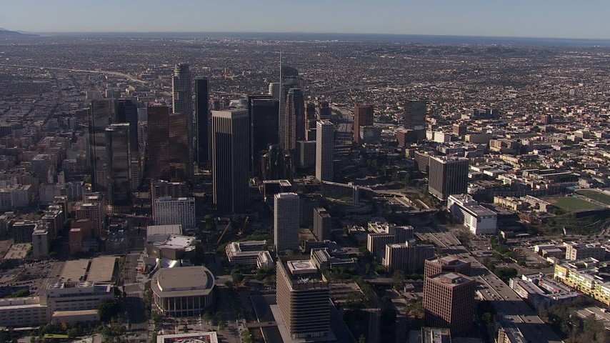 HD stock footage aerial video flyby and approach towering skyscrapers in the city's skyline, Downtown Los Angeles, California Aerial Stock Footage | CAP_021_108