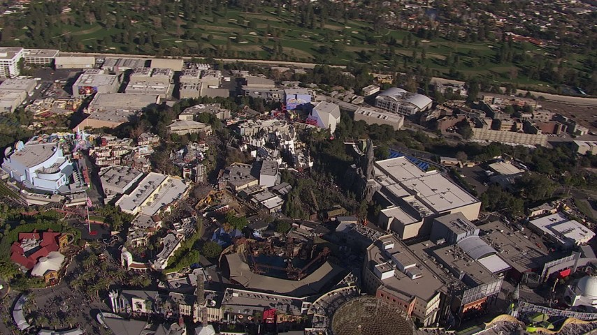 HD stock footage aerial video orbit Universal Studios Hollywood theme park, Universal City, California Aerial Stock Footage | CAP_021_123