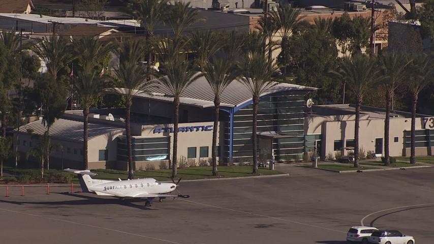 HD stock footage aerial video of Atlantic Aviation at Burbank Airport, California Aerial Stock Footage | CAP_021_131