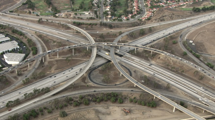 HD stock footage aerial video of the Interstate 15 and Highway 91 interchange, Corona, California  Aerial Stock Footage | CBAX01_030