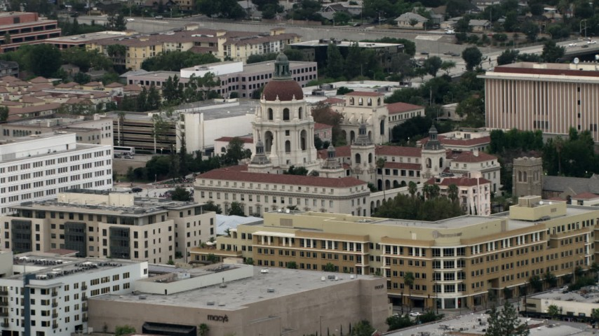 HD stock footage aerial video of Pasadena City Hall, Pasadena, California Aerial Stock Footage | CBAX01_100