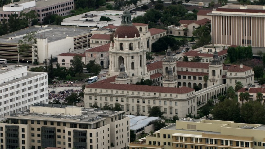 HD stock footage aerial video of passing Pasadena City Hall, with crowd in front of building, Pasadena, California Aerial Stock Footage CBAX01_101 | Axiom Images