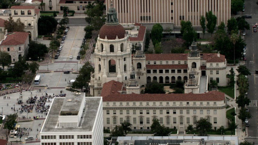 HD stock footage aerial video orbit Pasadena City Hall, reveal crowd in front of building, Pasadena, California Aerial Stock Footage | CBAX01_102