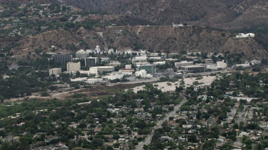 HD stock footage aerial video of approaching the Jet Propulsion Lab, Pasadena, California Aerial Stock Footage | CBAX01_106
