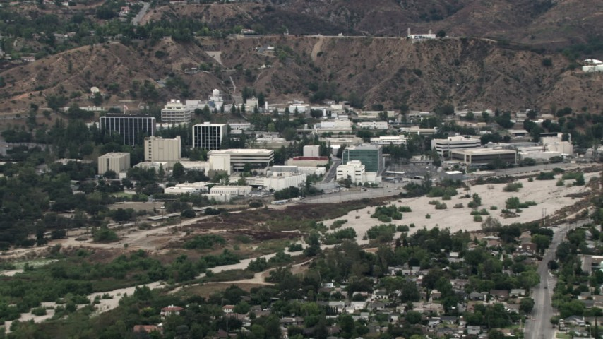 HD stock footage aerial video of the Jet Propulsion Lab, Pasadena, California Aerial Stock Footage | CBAX01_107