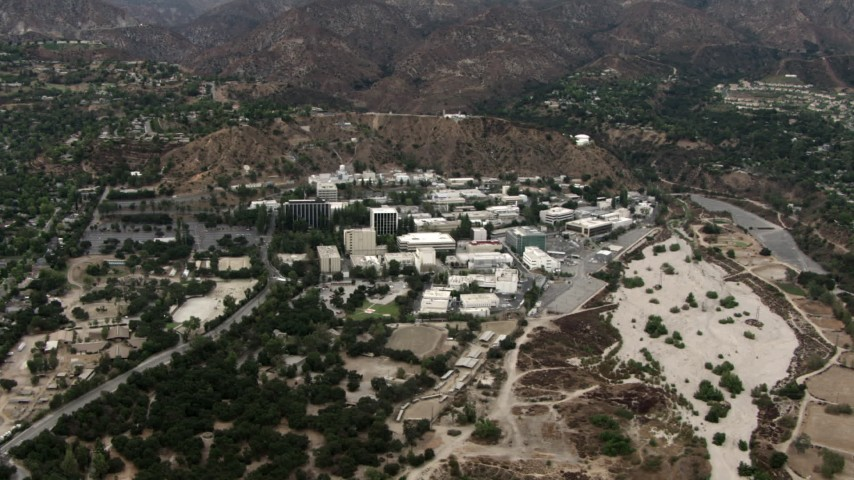 HD stock footage aerial video of JPL, the Jet Propulsion Laboratory, Pasadena, California Aerial Stock Footage | CBAX01_109