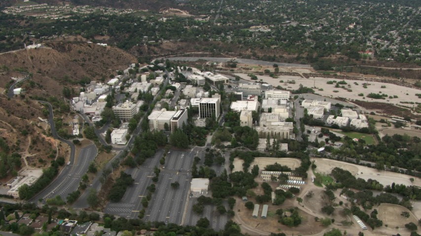 HD stock footage aerial video of flying away from Jet Propulsion Laboratory, Pasadena, California Aerial Stock Footage | CBAX01_111