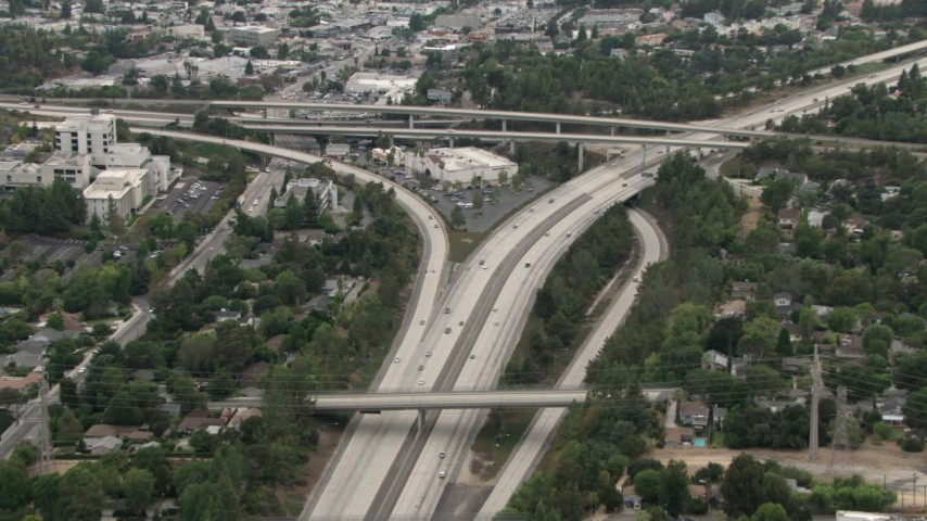 HD stock footage aerial video of Interstate 210 by Highway 2 interchange, La Cañada Flintridge, California Aerial Stock Footage | CBAX01_113