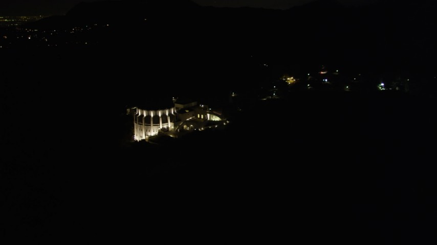 5K stock footage aerial video orbiting the Griffith Observatory at night, Los Angeles, California Aerial Stock Footage | DCA01_003