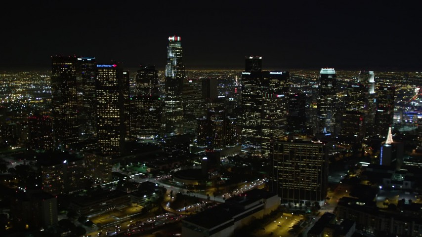 5K stock footage aerial video tilt up to reveal downtown Los Angeles skyscrapers, California Aerial Stock Footage | DCA01_012