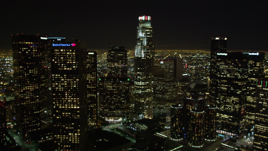 5K stock footage aerial video tilt up revealing Downtown Los Angeles skyscrapers, California Aerial Stock Footage | DCA01_013