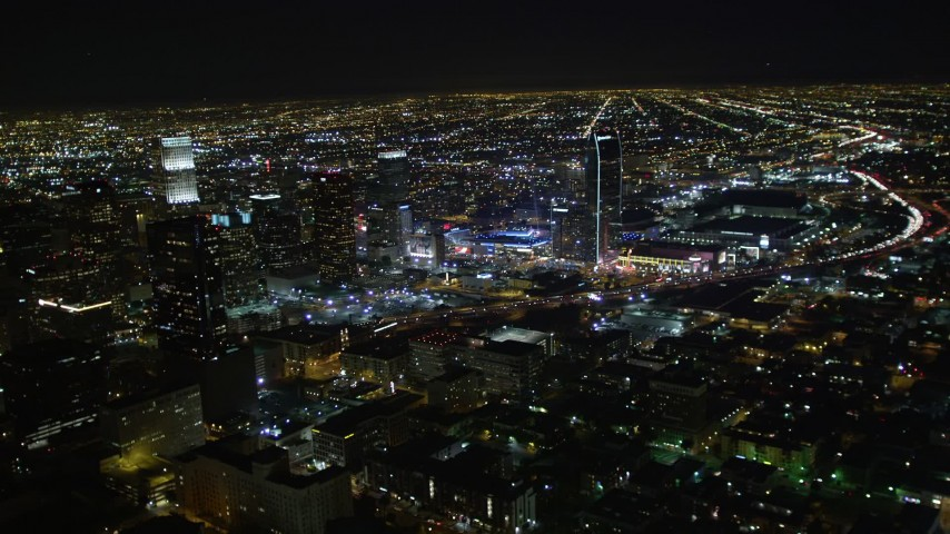 5K stock footage aerial video Downtown Los Angeles skyscrapers and city lights at night, California Aerial Stock Footage | DCA01_019