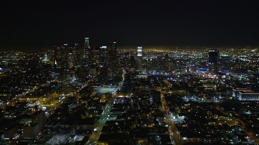 5K stock footage aerial video Downtown Los Angeles skyline at night, California Aerial Stock Footage | DCA01_020
