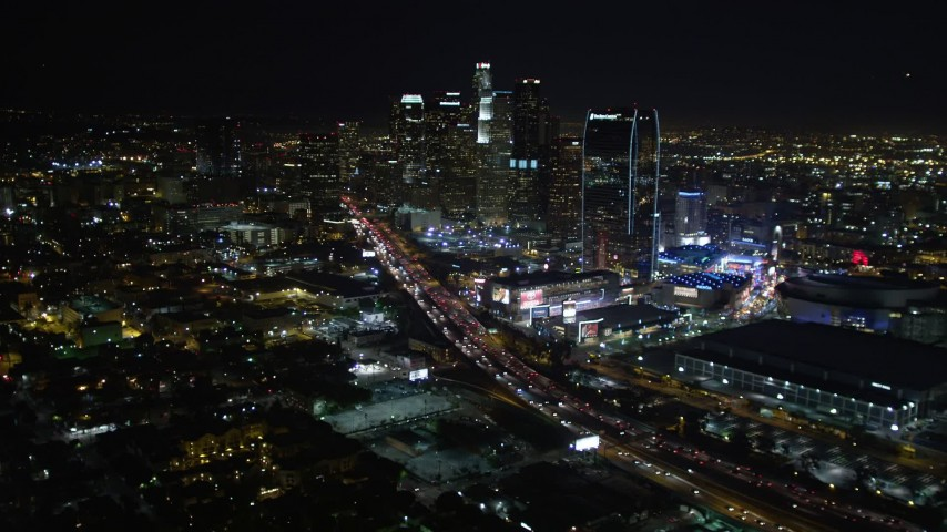 5K stock footage aerial video Downtown Los Angeles skyline and city lights at night, California Aerial Stock Footage | DCA01_022