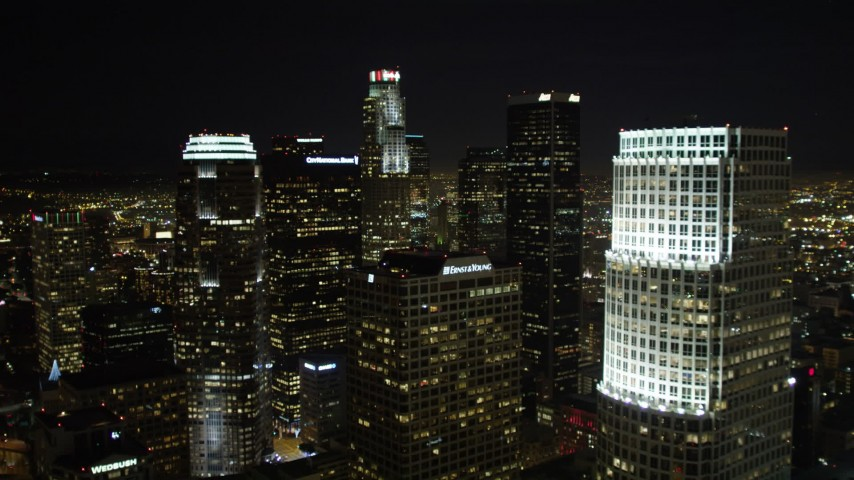 5K stock footage aerial video approaching 777 Tower, Ernst & Young Building, City National Plaza at night, Los Angeles, California Aerial Stock Footage | DCA01_024