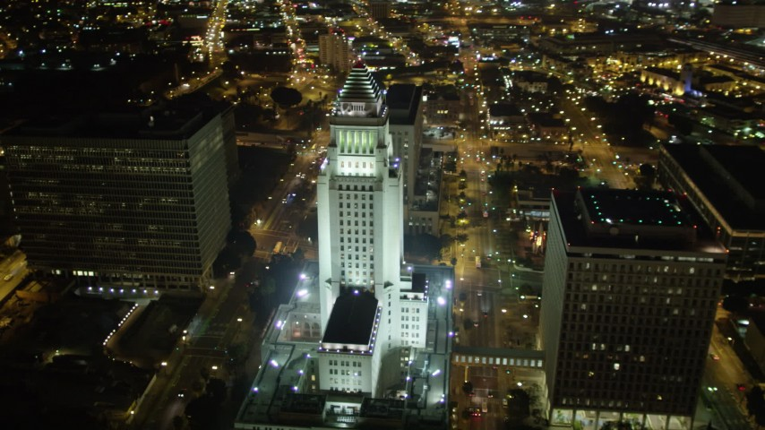 5K stock footage aerial video approaching Los Angeles City Hall at night, California Aerial Stock Footage | DCA01_026