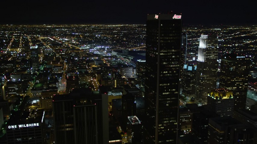 5K stock footage aerial video Downtown Los Angeles skyscrapers and city lights at night, California Aerial Stock Footage | DCA01_032