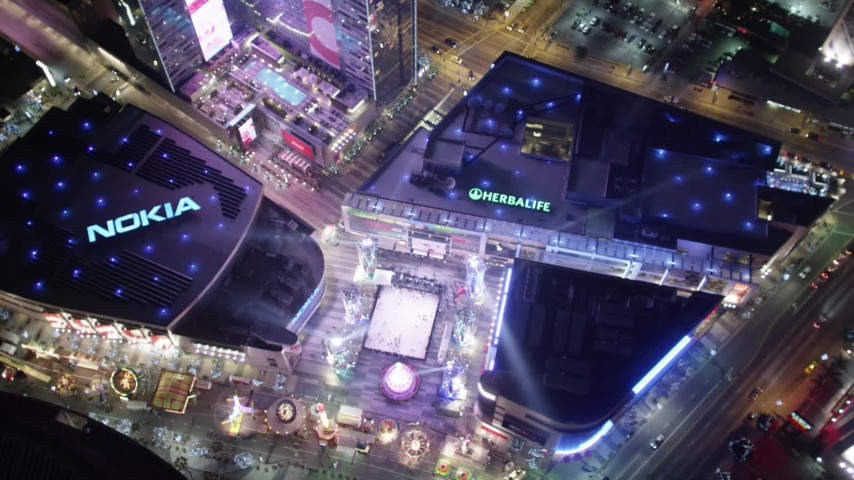 5K aerial video a bird's eye view orbiting Nokia Theater, Los Angeles, California Aerial Stock Footage | DCA01_034