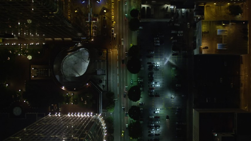 5K stock footage aerial video bird's eye view following South Figueroa Street at night, Downtown Los Angeles, California Aerial Stock Footage   DCA01_037E